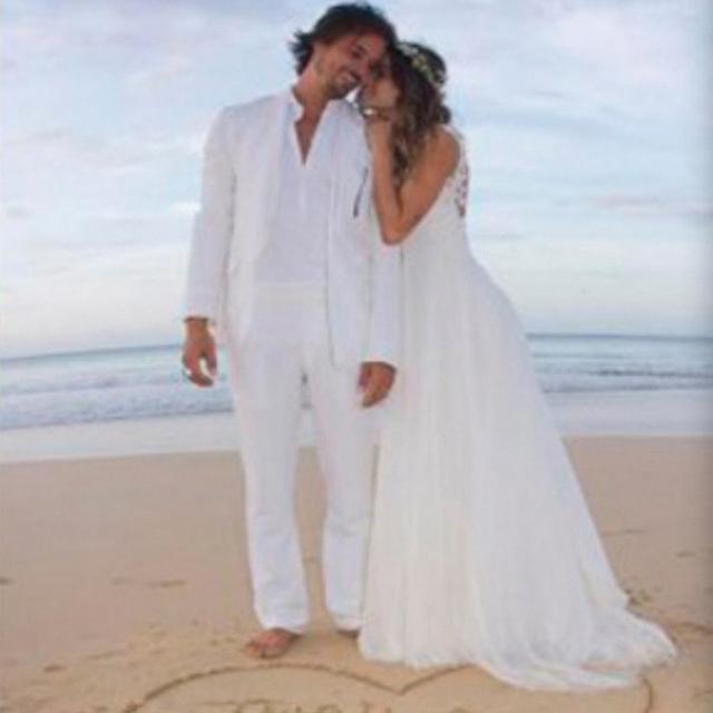 Sem encosto Sexy Do Vintage Do Laço Branco E Chiffon Ver Através de Vestidos de Praia Casamentos 2016 Vestidos de Noiva New Arrival Vestido De Novia