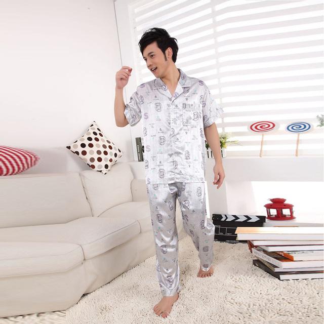 Pijamas de Seda dos homens para camisolões tracksuits roupão sleepwear Loungewear pijamas homens