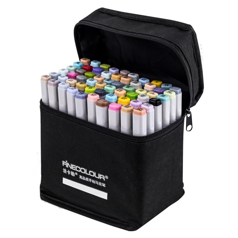 FINECOLOUR marqueur génération alcoolique Double fin artiste crayon jeu de dessin 36/48/60/72 couleur dessin animé œuvre marqueur pour la conception