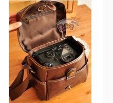 W736 hombres mujeres vintage pu cuero digital bolsa de la cámara de fotos para Canon Nikon Aino Girl Sony