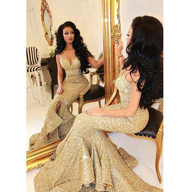 5a4387b40a9 Cheap Price Luxurious Gold Sweetheart Sequined Mermaid Prom Dresses 2018  Spaghetti Straps Draped Ruffles Formal Evening Dress-in Prom Dresses from  Weddings ...