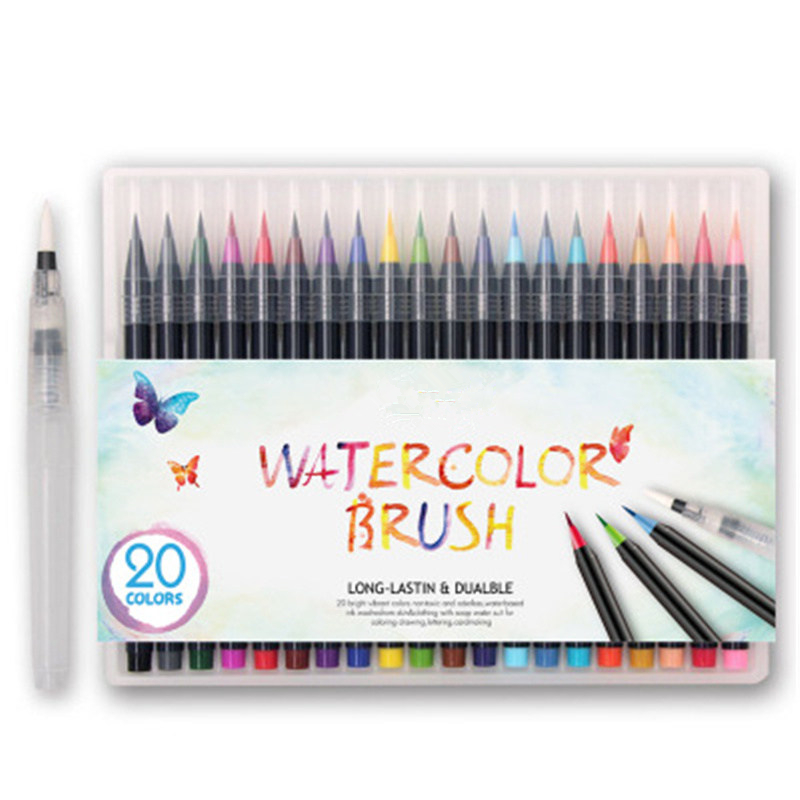20 Color Creative Watercolor Markers Pen Painting Soft Brush Pen Set Effect Best For Coloring Books Manga Comic Halloween 20colors paint brush painting soft brush pen set watercolor markers pen effect best for coloring books manga comic calligraphy