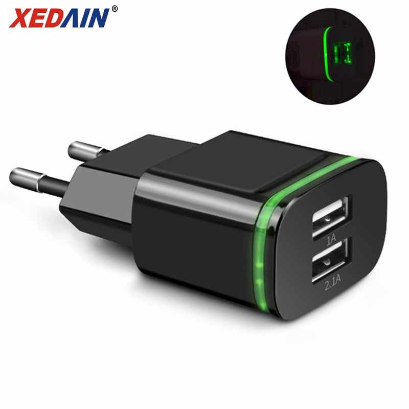 XEDAIN Phone USB Fast Chargers EU/Plug 2.1A Wall Charger Dual Ports 2 USB Ports LED Light Micro USB Cable Charging Power Adapter
