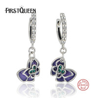 FirstQueen Forever Buttefly 925 Sterling Silver High Quality Stud Earrings With Enamel Style Fine Jewelry Bijoux