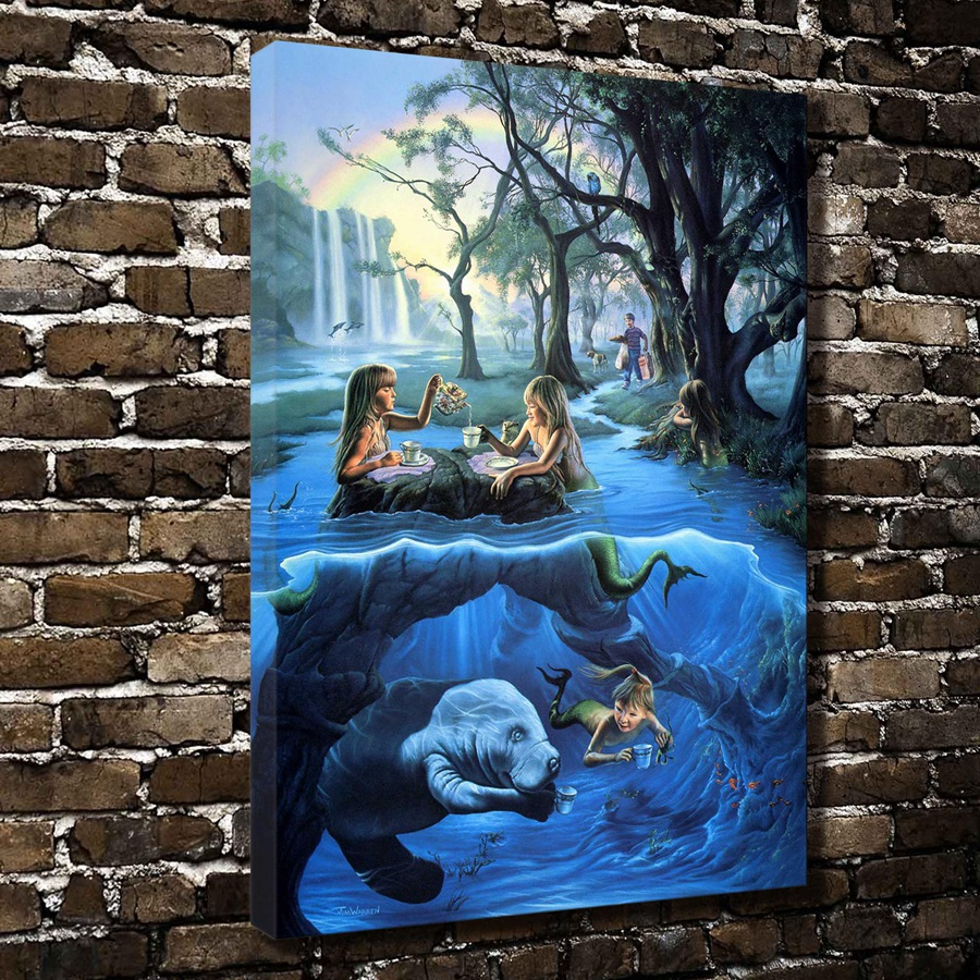 A1123 Jim warren Illustration Mermaid Tea Party .HD Canvas Print Home decoration Living Room bedroom Wall pictures Art painting