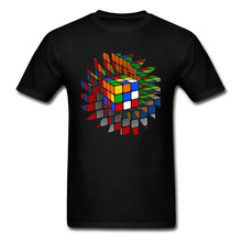Rubiks Cube T-Shirt Men Geometric Designer T Shirt Summer Street Tops Geek Chic Clothes Cotton Fabric Black Tshirt Fashion