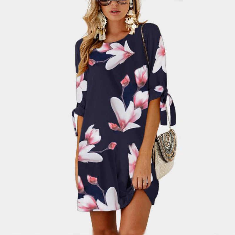 4557ee6b087 ... Talla grande 2019 Primavera Verano Vestido Mujer talla grande Casual  estampado Vintage Vestidos elegante Oficina Midi ...