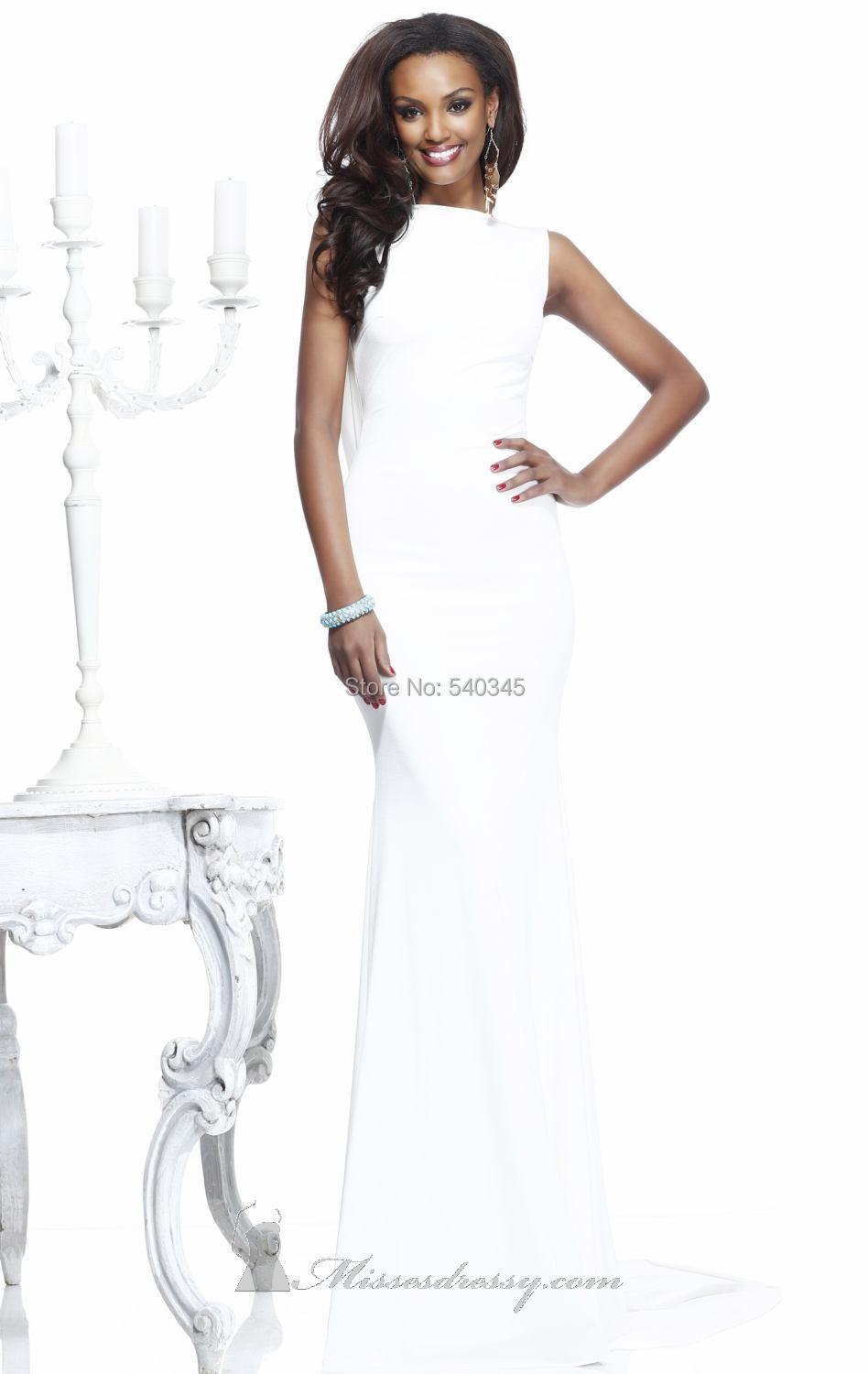 White Elegant Mermaid Boat Neck   Evening     Dresses   Crystal Sequined Beading Chiffon Floor-Length Long Prom Party Gowns 2014