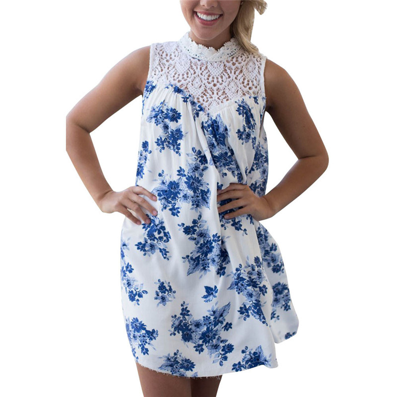 snowshine YLI Women Sleeveless Blue Floral Printed Lace Splice Casual Beach Dress free shipping