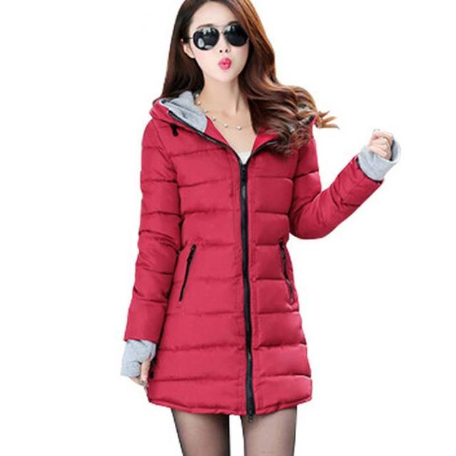 2016 Mujeres del Invierno y El Otoño de Desgaste de Alta Calidad de Las Mujeres abajo Parkas de algodón Chaquetas de Invierno Outwear Mujeres Abrigos Largos BL1270