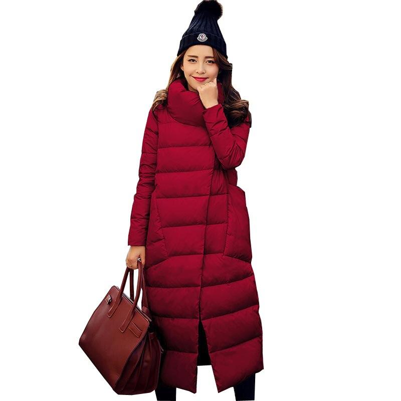 Высокое качество Для женщин Парка на пуху Мода 2016 года теплые зимние пальто утолщение тонкий стенд воротник белая утка Подпушка куртка Женский kp1331
