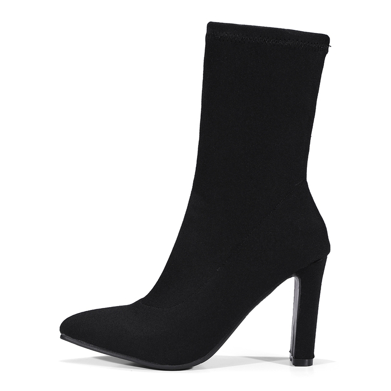 Dropshipping women ankle boots slip on Socks women high heels boots sexy ladies boots Black shoes blings plus size