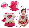 Verão novo bebê da menina do menino menina super superman romper com dress blusa jumpsuits animais infantil usa