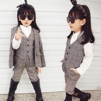 Children Clothing Set Baby Girl Blazer Christmas Costumes Wedding Suits Girls Blazer Set Tuxedo Suits Jacket + Vest + Pants Y161