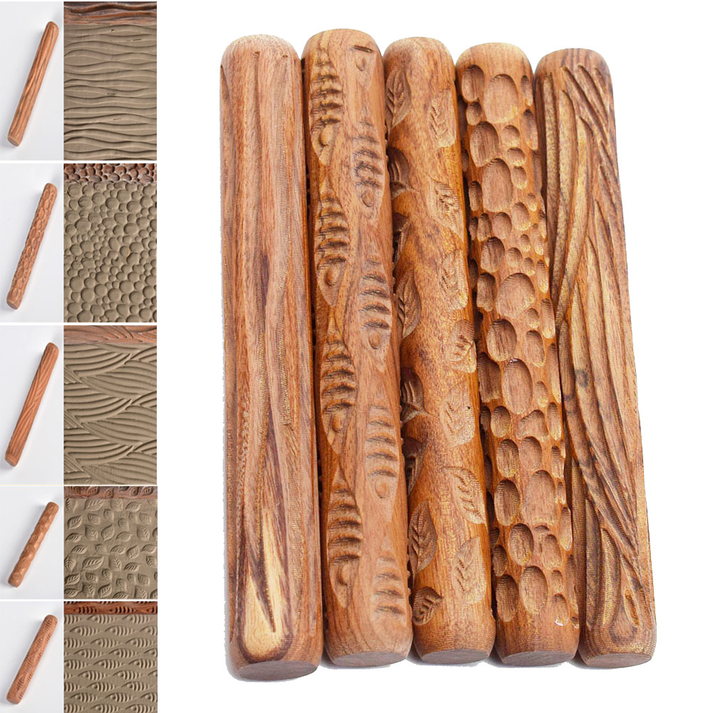 Pottery Tools Wood Texture Rolling Pin Embossing Stick Bubble Fish Leaf Wave Pattern Ceramic Polymer Clay Tools