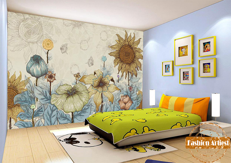 Custom Cartoon Floral Wallpaper Mural Hand Painting Sunflower Butterfly Sofa Bedroom Living Room Cafe Bar Restaurant Background In Wallpapers From Home