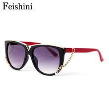 FEISHINI Classic Metal Pattern Brand Designer Luxury Gradient Vintage UV400 Sunglasses Polarized Women Cat eye Mirror Fashion