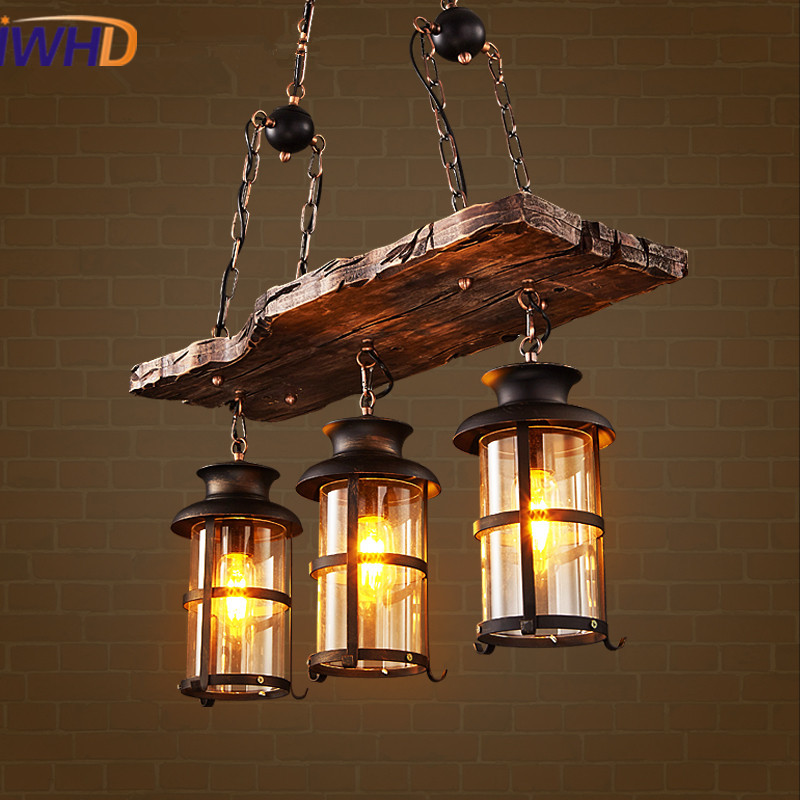 IWHD American Loft Style LED Pendant Lights Vintage Industrial Pendant Lamp Wooden Droplight Fixtures For Home Lighting Bar Cafe