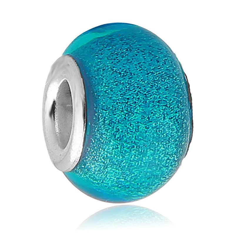 45 wahl Heißer Verkauf Blau Runde Murano Glas Perlen Fit Original Pandora Silber Charme Armband Anhänger DIY Schmuck Machen