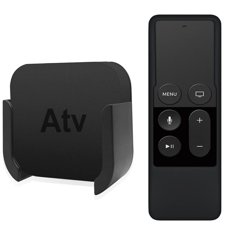 For Apple TV Remote Control Wall Mount Brackets Stand with Silicone Siri Remote Control Protection Case for Apple TV 4th 4k