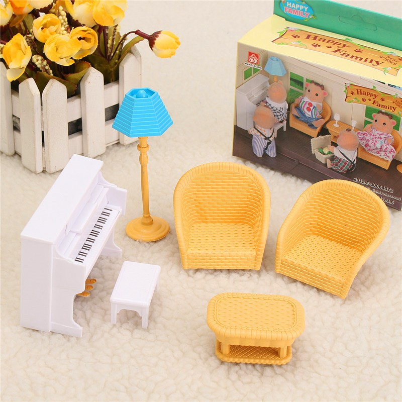 Hot Sale Diy Miniature Doll House Furniture Set Kitchen Living Bathroom Kids Play Toy Decor For