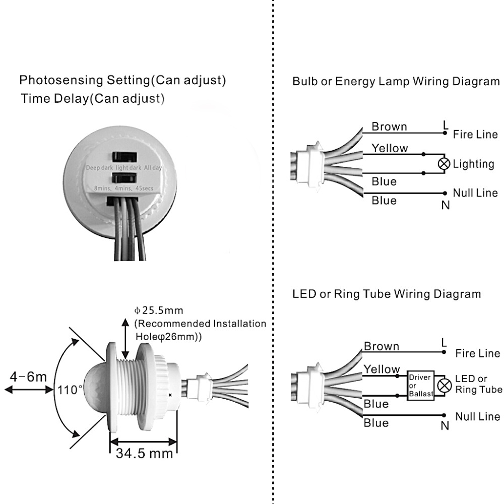 40mm Led Pir Detector Infrared Motion Sensor Switch With Time Delay Wiring Diagram For Adjustable In Switches From Lights Lighting On Alibaba Group