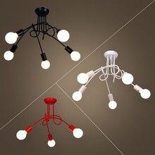 Простой креативный черный и белый E27 потолочный светильник винтажный индивидуальный Современный короткий светодиодный Люстра светильник
