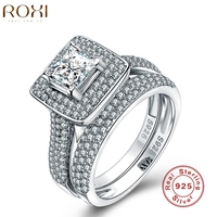 Fashion Wedding Engagement Ring Sets For Women 925 Sterling Sliver Ring Diamond Romantic Jewelry