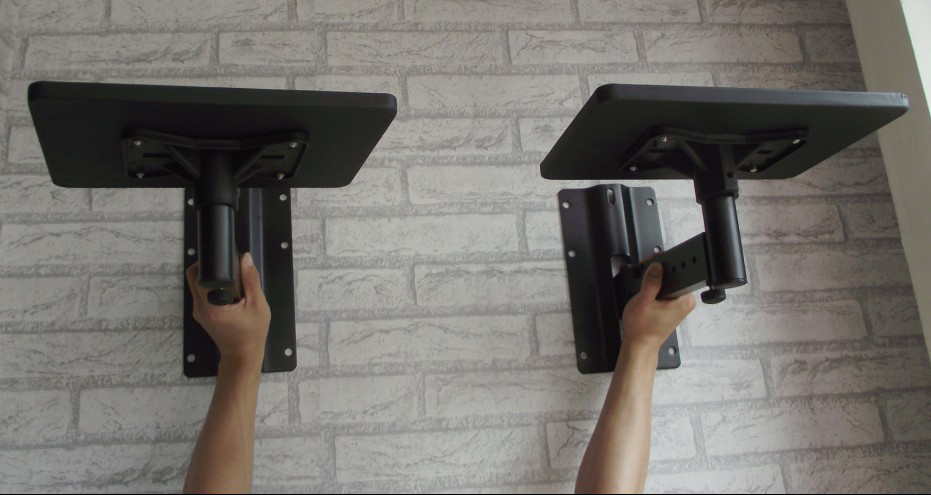 2pcs 1Pair Full Motion Speaker Bracket Mount Heavy Duty Flexible Tilting Rotation Speaker Holder With Tray