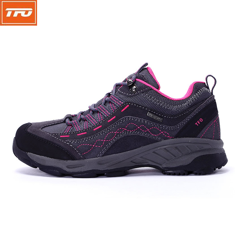 TFO Women Breathable Waterproof Hiking Shoes Trekking Shoes Leather Antiskid Cushioning Climbing Sneakers Outdoor Shoes 844556 new womens high top lace up outdoor suede trekking bootss waterproof breathable camping hiking shoes women climbing sneakers