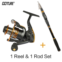 Goture Salt Water Fishing Reel Rod Set Metal Coil Spinning Reel 6BB+ Carbon Telescopic Fishing Rod Combo
