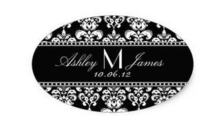 6センチ* 3センチ黒白いダマスク結婚式のワインラベルオーバルステッカー