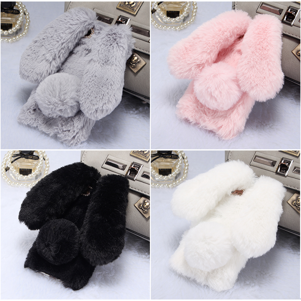 KIPX1033_2_For iPhone 7 8 Case 3D Rabbit Hairy Warm Winter Fur Bling Rhinestone Plush Bunny Cover Case for iPhone XS XR 5 5S SE 6S 7P 8 Plus
