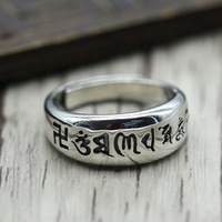 Genuine Solid Mantra Rings Silver s925 Six Words' Rings Engraved Avatamsaka Chinese Words Sterling Silver Jewelry Opening