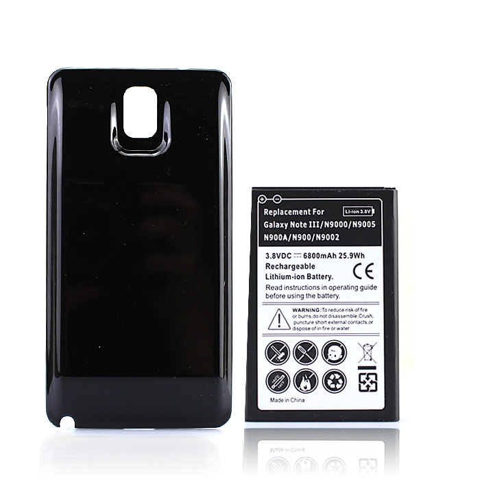 6800mAh Rechargeable Battery For Samsung Galaxy Note 3 N9000 N9005 N900A N9002 N900 Phone Extended Battery+Black Back Cover Case