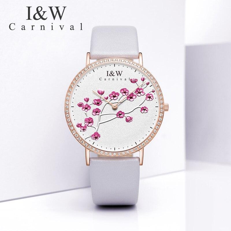 Carnaval IW véritable mode à la mode montre pour femme Simple en cuir montre à Quartz montre pour femme mince étudiant collège littéraire montre - 5