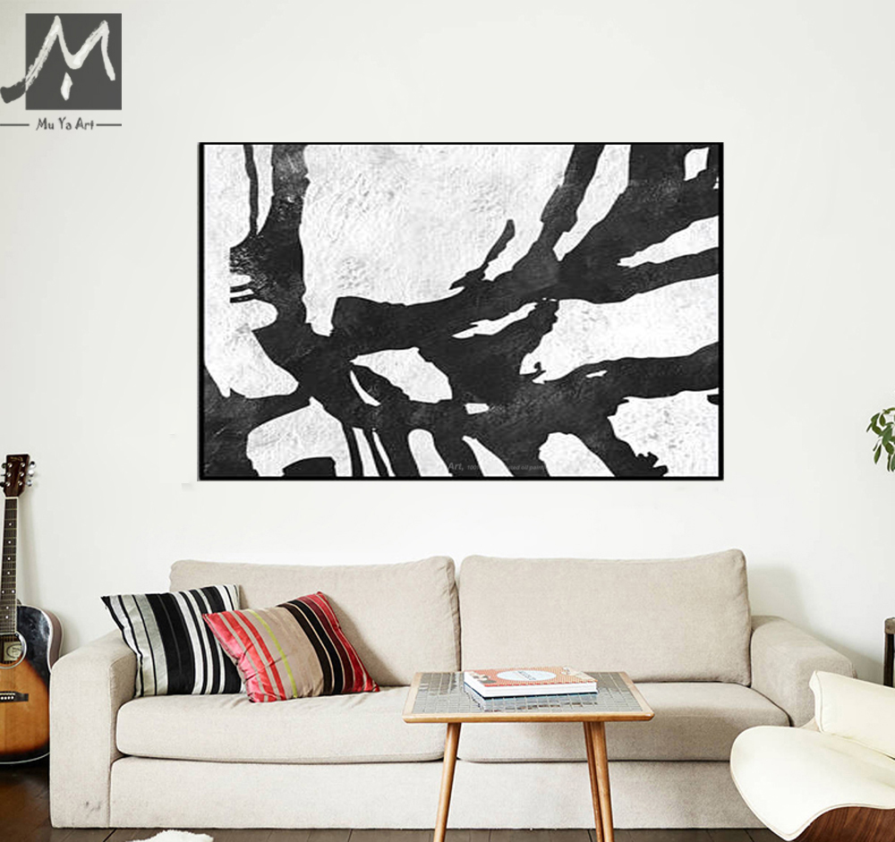 muya canvas painting oil painting handpainted black white paintings