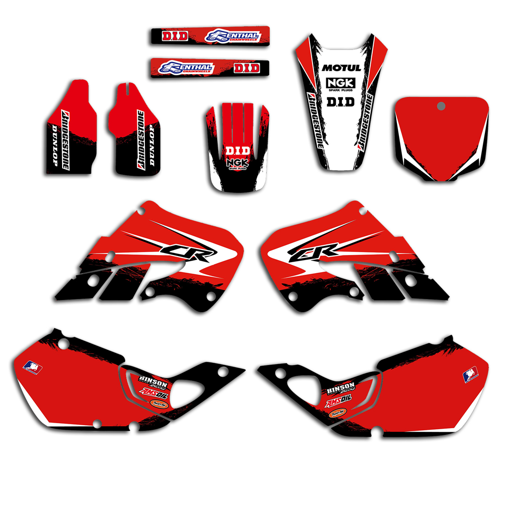 Motorcycle New Team Background Stickers Graphic Decals Kit For Honda CR125 1998 1999 CR250 1997 -1999 CR 125 250