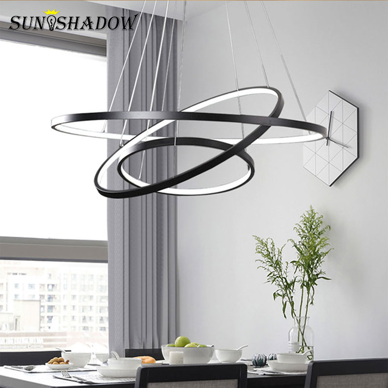 Image 5 - Modern Led Chandelier 6Rings Circle Ceiling mounted LED Chandelier Lighting For Living room Dining room Kitchen Black&White&Gold-in Chandeliers from Lights & Lighting