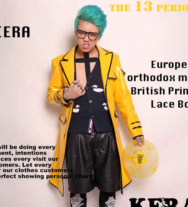 S 4XL 2017 DJ Men singer with yellow paint bright face long leather coat font b
