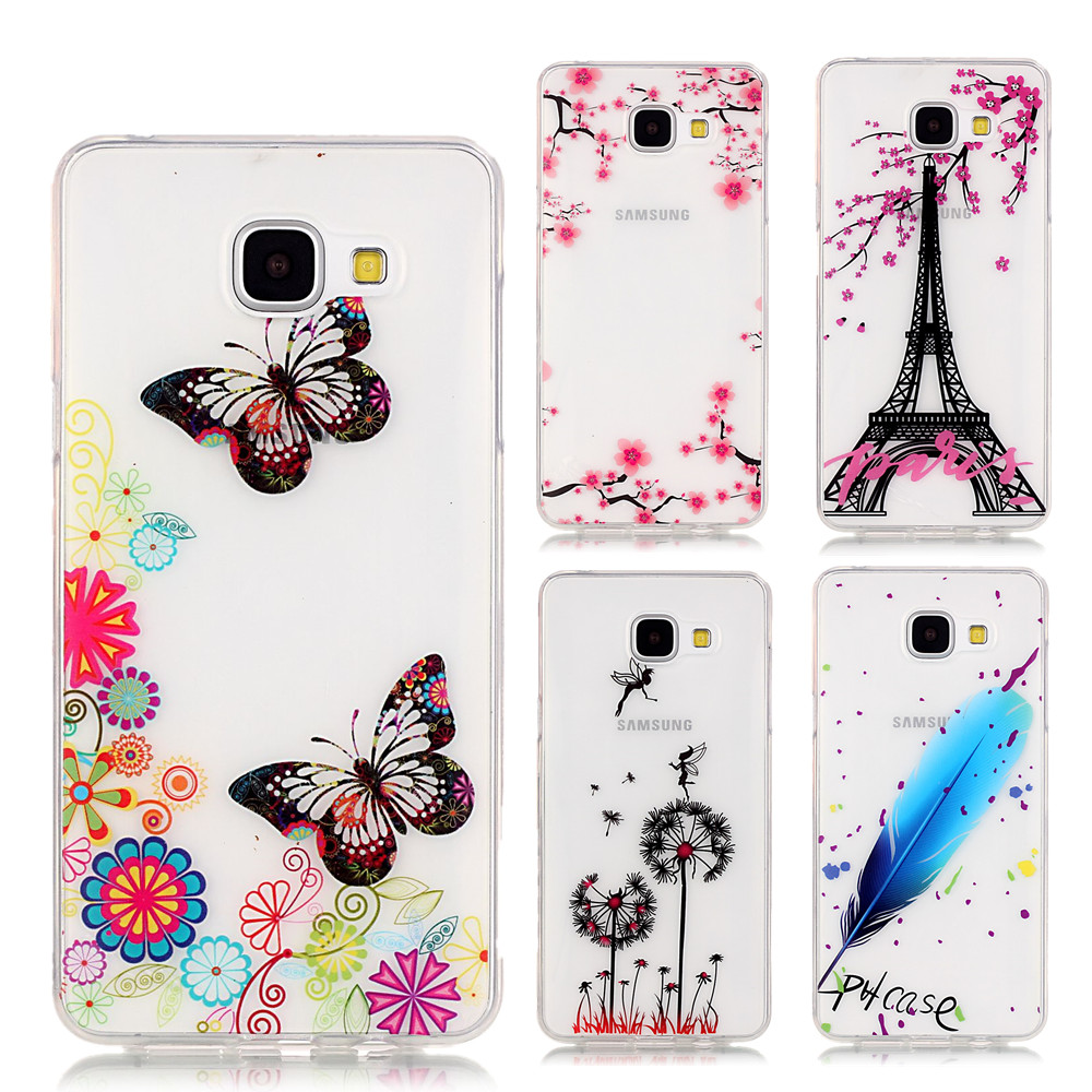 Pu leather case for samsung galaxy a7 2016 a710 peacock feather - For Coque Samsung Galaxy A3 2016 Case Butterfly Feathers High Transparency Silicone Cover For Funda Samsung