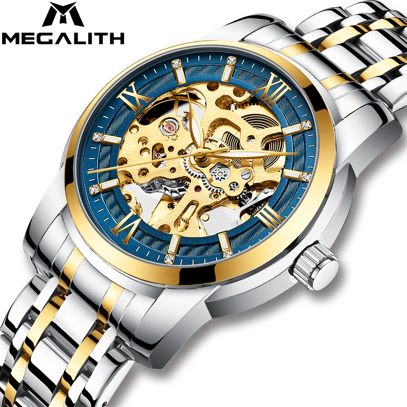 MEGALITH Luxury Business Skeleton Mechanical Watches Men Tourbillon Waterproof Luminous Automatic Watches Male Relogio MasculinoMEGALITH Luxury Business Skeleton Mechanical Watches Men Tourbillon Waterproof Luminous Automatic Watches Male Relogio Masculino