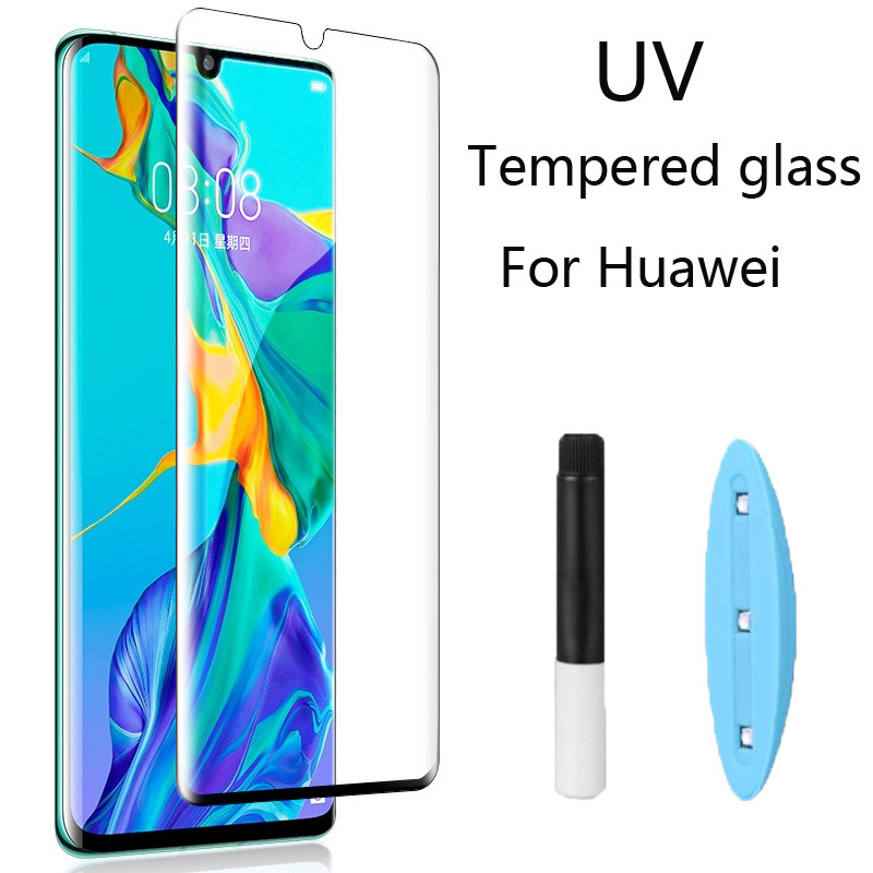 Clear Curved UV Liquid Full Glue Tempered Glass For Huawei P30 Pro P20 Pro Lite For Huawei Mate 20 Pro Lite Screen Protector