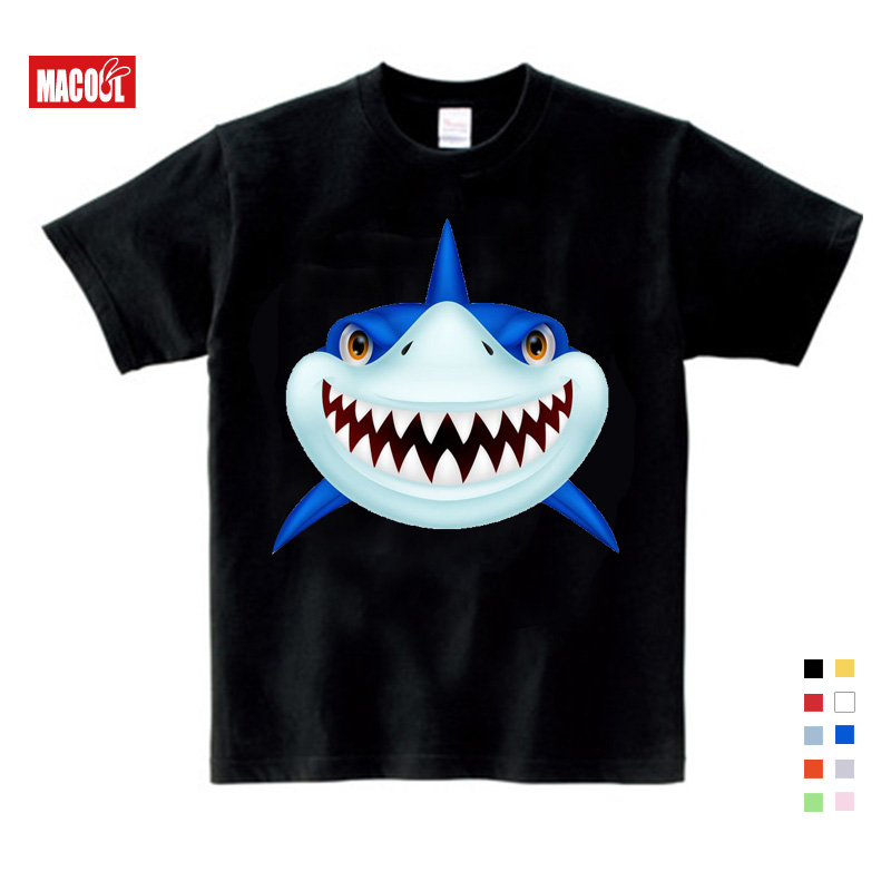 Boy Summer short white T Shirt baby shark clothes T shirts 3T 9T Shark babySports Wear Casual Clothes Children T Shirt 3 12 y in T Shirts from Mother Kids