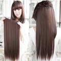 55cm Harajuku Natural Hair Extension Costume Long Straight Brown Black Heat Resistant Synthetic Hair Clip In Hair Extensions