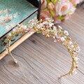 Элегантный Барокко Золотой Жемчуг Короны Tiara Кристалл Hairbands Вечерние Головные Уборы Партия Аксессуары Для Волос