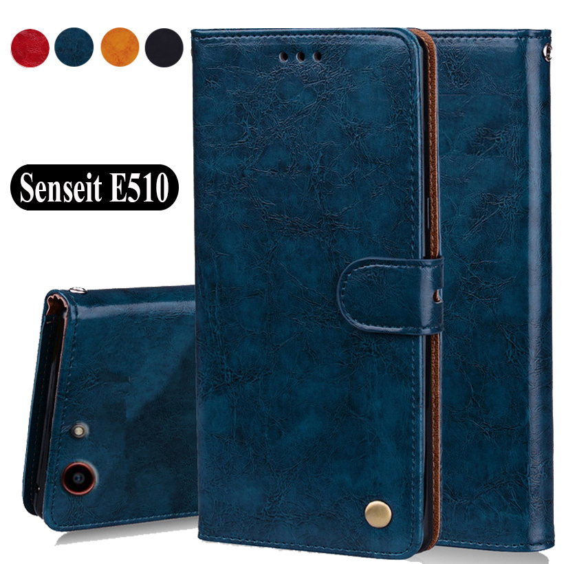 Luxury PU Leather Slip-resistant Flip Wallet Case For Senseit <font><b>E510</b></font> Book Case 5.5 Back <font><b>Cover</b></font> Case W01 image