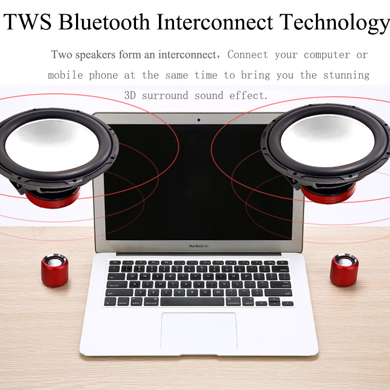 Image 2 - A8 tws Super Bass Portable Wireless Music Small Speaker Microphone Mobile Speaker music player Boom box sound system with Fm rad-in Subwoofer from Consumer Electronics