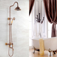 European Copper Jade Flower with Golden Rose and Gold Retro Bath Faucet Antique Shower Suit