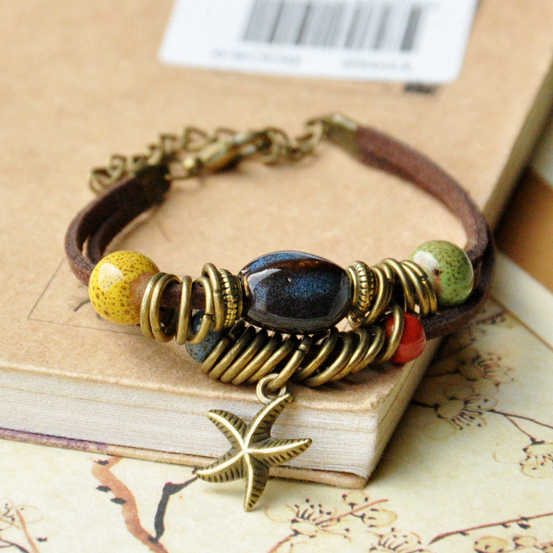 Ceramic Beads Leather Bracelets Women Men Cuff Bangles Link Chain Adjustable Wristbands Starfish Bohemian Fashion Charm Jewelry